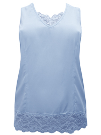 Denim 24/7 BABY-BLUE Sleeveless Lace Trim Vest Top - Plus Size 16 to 32