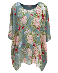 Joe Browns GREEN Floral Print Flirty Floaty Blouse - Plus Size 12 to 32