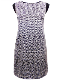 First Avenue BLACK Chevron Printed Shift Dress - Size 10 to 12