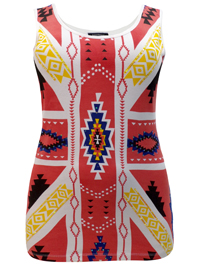Ashley Stewart WHITE Sequined Tribal Printed Vest - Plus Size 12 to 26