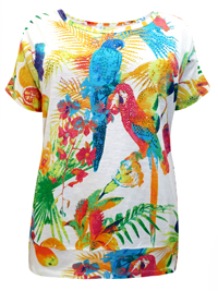 Woman Within WHITE Pure Cotton Embellished Parrot Print Tee - Plus Size 26/28 to 34/36 (1X to 3X)