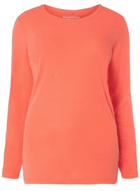 3vans CORAL Pure Cotton Long Sleeve Top - Plus Size 14 to 30/32
