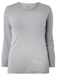 3vans GREY Pure Cotton Long Sleeve Top - Plus Size 14 to 30/32