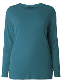 3vans TEAL Pure Cotton Long Sleeve Top - Plus Size 14 to 30/32