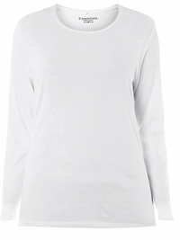 3vans WHITE Pure Cotton Long Sleeve Top - Plus Size 14 to 30/32