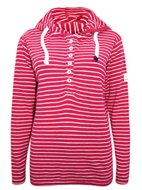 Lazy J4cks RED Pure Cotton Striped Hooded Top - Size 10 to 18 (Small to XXLarge)