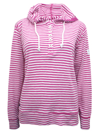 Lazy J4cks FUCHSIA Pure Cotton Striped Hooded Top - Size 8 to 18 (XSmall to XXLarge)