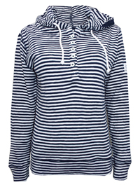Lazy J4cks MARINE Pure Cotton Striped Hooded Top - Size 8 to 18 (XSmall to XXLarge)