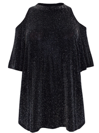 Quiz BLACK Cold Shoulder Glitter Top - Plus Size 16 to 26