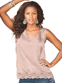 Denim 24/7 PINK Sleeveless Lace Trim Vest Top - Plus Size 16 to 32