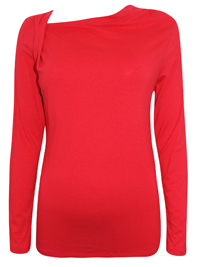 RED Off Centre Neckline Long Sleeve Top - Size 10 to 20