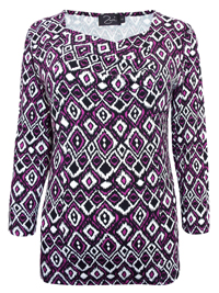 Zuri PURPLE Ruched Front Printed 3/4 Sleeve Top - Size 12 to 18 (Small to XLarge)
