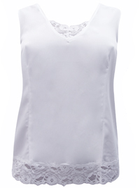 Denim 24/7 WHITE Sleeveless Lace Trim Vest Top - Plus Size 12 to 30