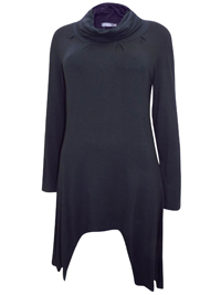 Ecoline Fashion BLACK Roll Neck Asymmetric Hem Tunic - Size 10 to 16 (Small to XLarge)