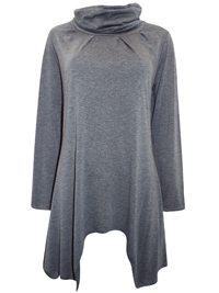 Ecoline Fashion GREY Roll Neck Asymmetric Hem Tunic - Size 10 to 16 (Small to XLarge)