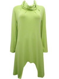 LIME Roll Neck Asymmetric Hem Tunic - Size 10 to 16 (Small to XLarge)