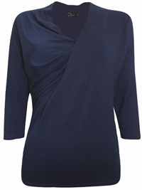 Zuri NAVY Crossover 3/4 Sleeve Jersey Top - Size 10 to 20