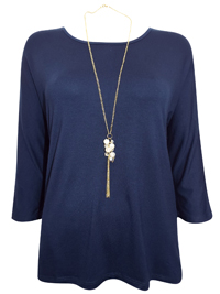 First Avenue NAVY Dipped Hem Jersey Top with Necklace - Size 10 to 20
