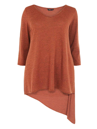 Amy K. RUST Asymmetric Hem 3/4 Sleeve Top - Plus Size 16 to 26