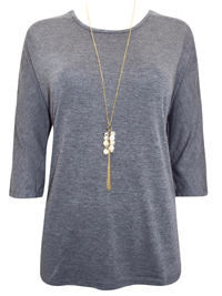 First Avenue GREY Dipped Hem Jersey Top with Necklace - Size 10 to 20