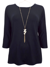First Avenue BLACK Dipped Hem Jersey Top with Necklace - Size 10 to 20