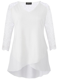 Grace CREAM Lace Sleeve Tulip Hem Tunic Top - Size 10 to 12