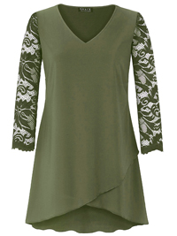 Grace OLIVE-GREEN Lace Sleeve Tulip Hem Tunic Top - Plus Size 12 to 28