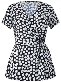 Grace BLACK Spotted Crossover Twist Top - Size 8 to 30