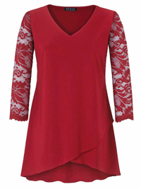 Grace RED Lace Sleeve Tunic Top - Plus Size 12 to 30