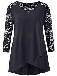 Grace BLACK Lace Back and Sleeve Tulip Hem Tunic Top - Size 8 to 12