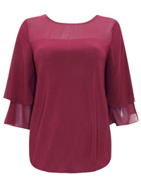 D3benhams WINE Chiffon Overlay Layered Sleeve Top - Size 10 to 22