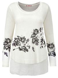 Joe Browns IVORY Print Double Layer Jumper Top - Plus Size 12 to 32