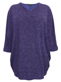 Curve PURPLE Marl V-Neck Longline Jumper - Plus Size 18 to 30/32