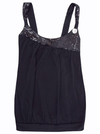 Sarah Chole BLACK Sequin Embellished Welt Hem Top - Size 8 to 14 (Small to XLarge)