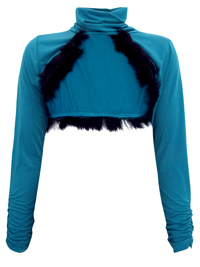 Sarah Chole TEAL Faux Fur Trim High Neck Extreme Crop Top - Size 8 to 12