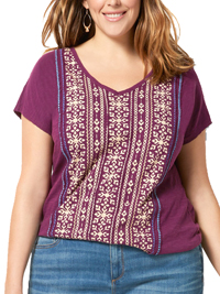 SONOMA PURPLE Pure Cotton Ethnic Print Short Sleeve Top - Plus Size 18/20 to 26/28 (1X to 3X)