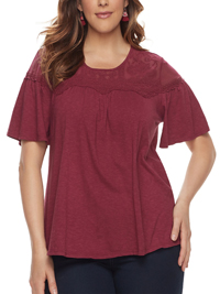 SONOMA BURGUNDY Embroidered Overlay Mesh Yoke Tee - Plus Size 18/20 to 26/28 (1X to 3X)