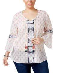 Style&Co WHITE Red Ethnic Print Tie Neck Embroidered Top - Plus Size 16/18 to 24/26 (1X to 3X)