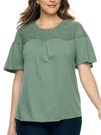 SONOMA Country MEDOW Embroidered Overlay Mesh Yoke Tee - Plus Size 18/20 to 26/28 (1X to 3X)