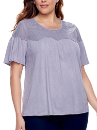 SONOMA VIOLET Field Embroidered Overlay Mesh Yoke Tee - Plus Size 18/20 to 26/28 (1X to 3X)
