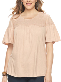 SONOMA Rushmore ROSE Embroidered Overlay Mesh Yoke Tee - Plus Size 18/20 to 26/28 (1X to 3X)