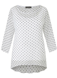 Grace WHITE 3/4 Sleeve Polka Dot Tunic - Size 12