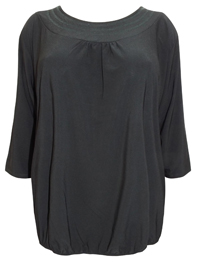 Grace BLACK 3/4 Sleeve Bubble Hem Top - Plus Size 32