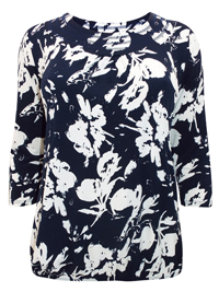 Grace NAVY Printed 3/4 Sleeve Bubble Hem Top - Plus Size 16 to 32