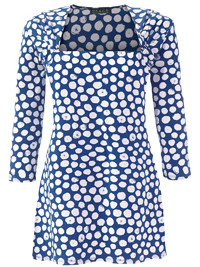 Grace BLUE Square Neck Spotted Tunic - Size 10 to 32