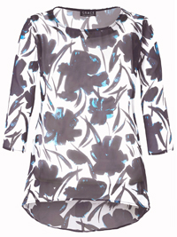 Grace BLUE Floral Printed Chiffon Overlay Top - Plus Size 14 to 28