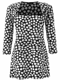 Grace BLACK Square Neck Spotted Tunic - Size 12 to 32