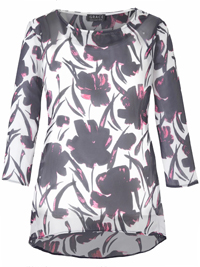 Grace PINK Floral Printed Chiffon Overlay Top - Plus Size 14 to 28