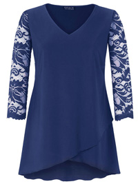 Grace NAVY Lace Sleeve Tunic Top - Plus Size 12 to 28