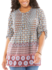 Woman Within WHITE Tile Border Print Pintuck Roll Sleeve Georgette Shirt - Plus Size 18/20 to 42/44 (Medium to 5X)